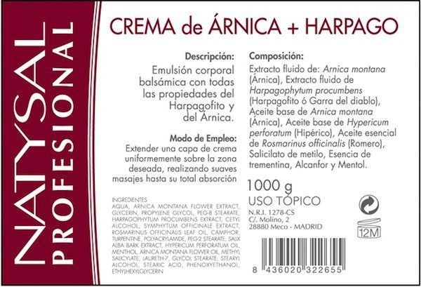 Natysal Árnica y Harpagofito crema 1Kg