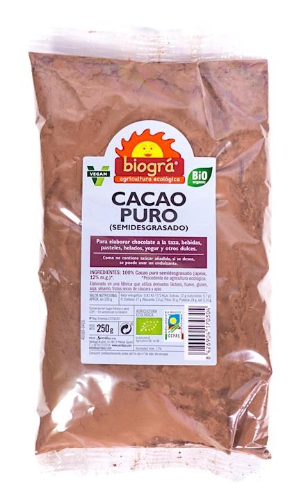 Biogra cacao puro Bio semidesgrasado 250g