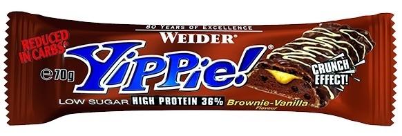 Weider Yippie Barritas Sabor Brownie Vainilla. Caja de 12 unidades