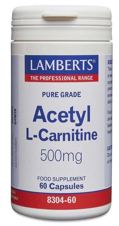 Lamberts L-Acetil Carnitina 500mg 60 cápsulas
