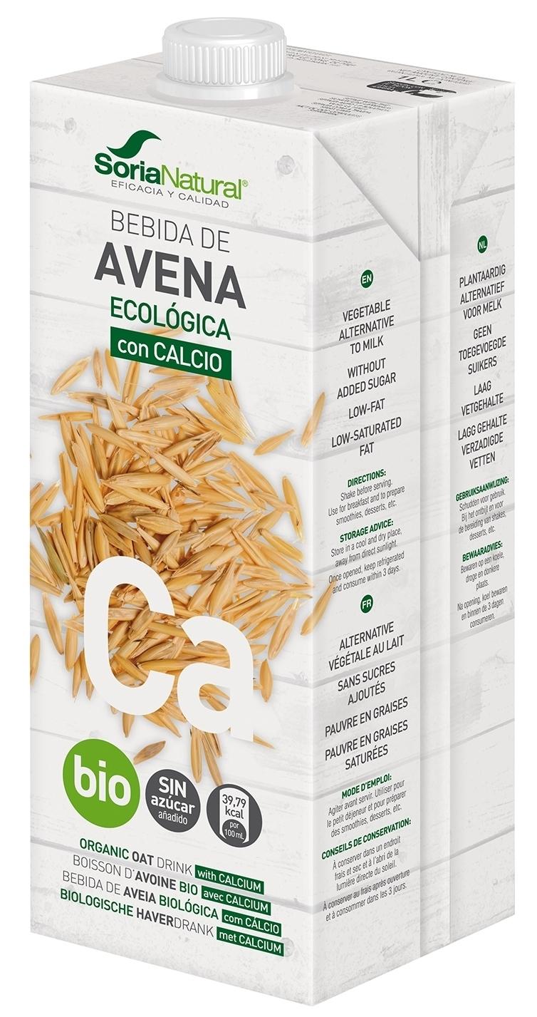 Soria Natural Bebida de Avena con Calcio 1000ml Pack 12 unidades